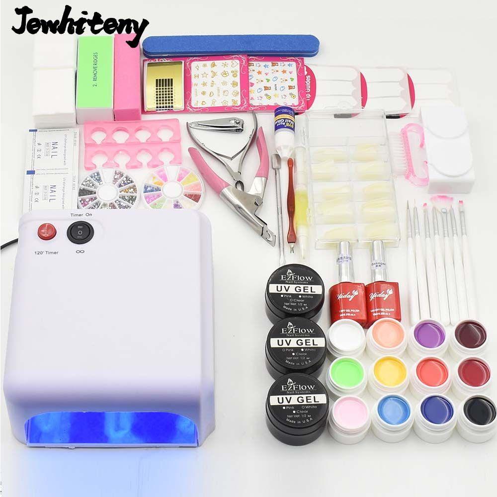 sale nail art tool kit set 12 colors uv gel nail polish uv led lamp ...