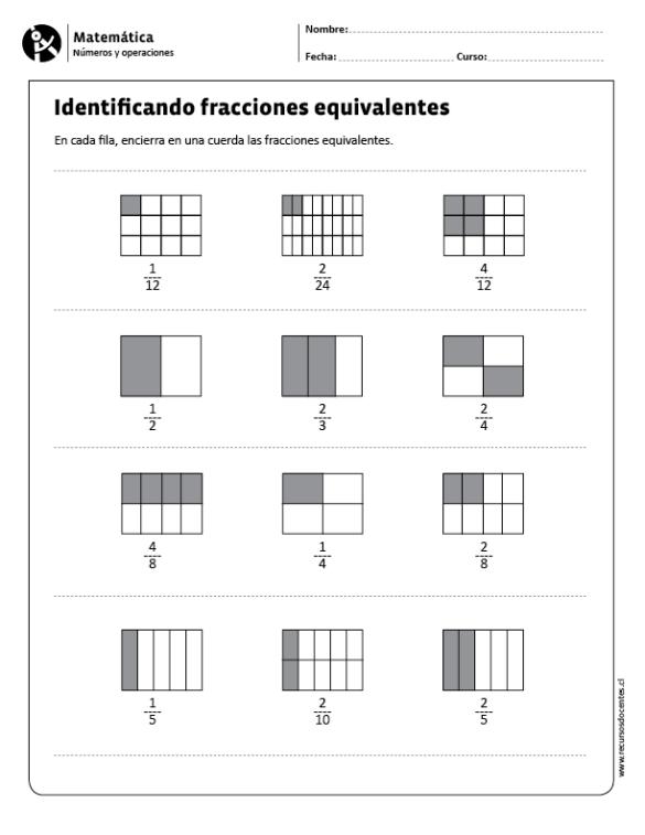 Identificando Fracciones Equivalentes Primary Maths Home Schooling Fractions