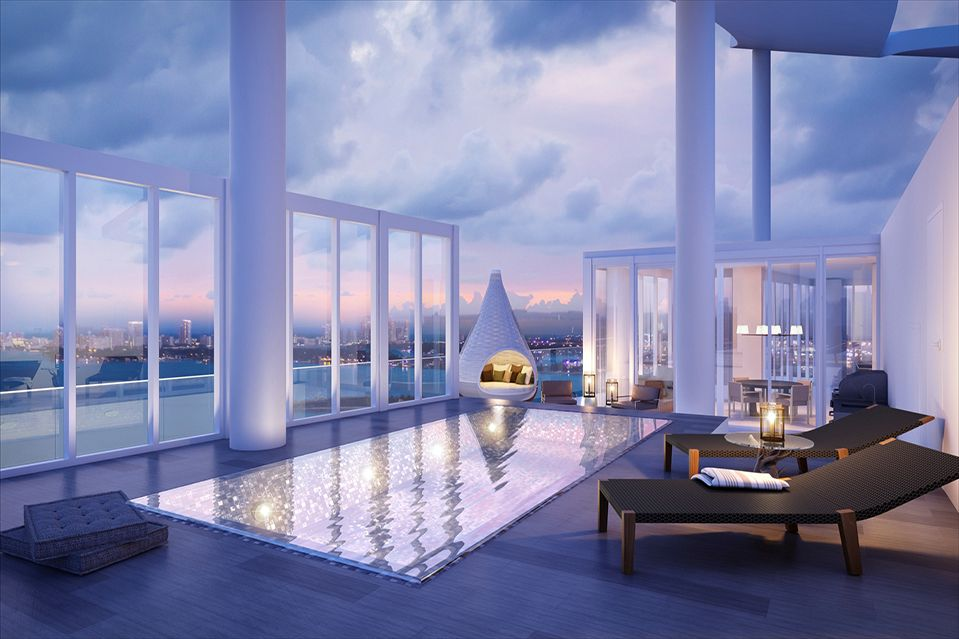 Penthouse - rooftop terrace with swimming pool.