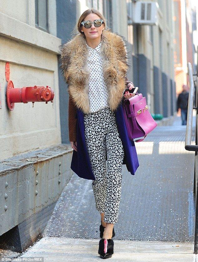 Olivia Palermo wearing Fendi  Fur-Trimmed Patent Leather Ankle Boots Diane von Furstenberg Bell Fur Collar Coat