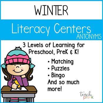 Winter Literacy Centers: Antonyms/Opposites for Preschool, PreK & K ...