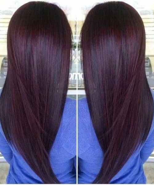 Color De La Ciruela Cereza Chocolate Mechas Cabello