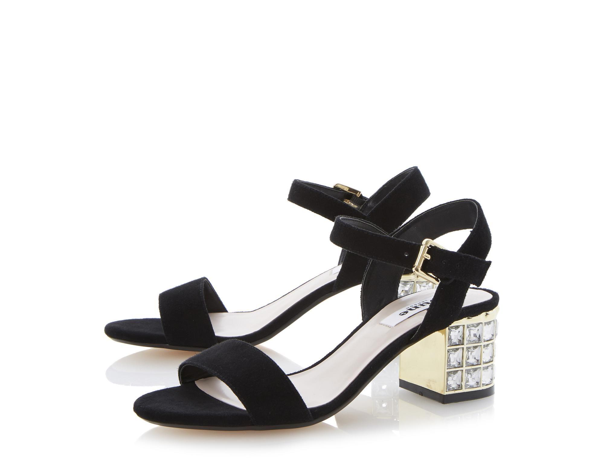 675ba6ac018 DUNE LADIES HARAH - Jewelled Block Heel Sandal - black suede