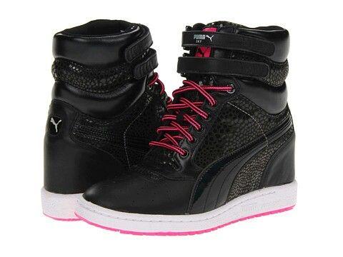 Black & Pink Wedge Sneakers