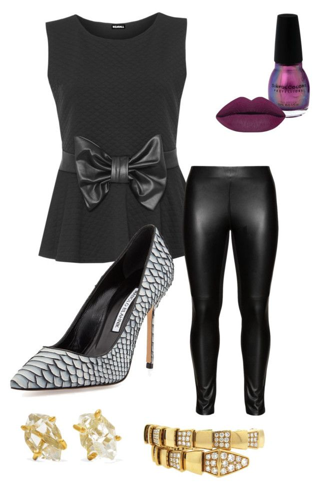 """""""Stone Age Party Animal"""" by cassandra-m-myles-herring on Polyvore featuring WearAll, Studio, Manolo Blahnik, Pippa Small and Bulgari"""
