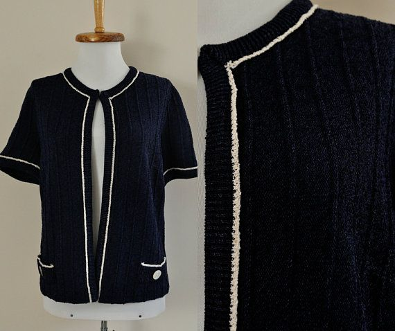 4d09838ffc4 60s Blue Cardigan   50s Navy White Boxy Sweater   Vintage Textured Jacket  Short Sleeve Mod   Womens
