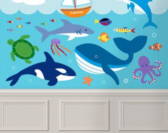 Kids Ocean Animals Peel and Stick Jumbo Wall Mural Personalized