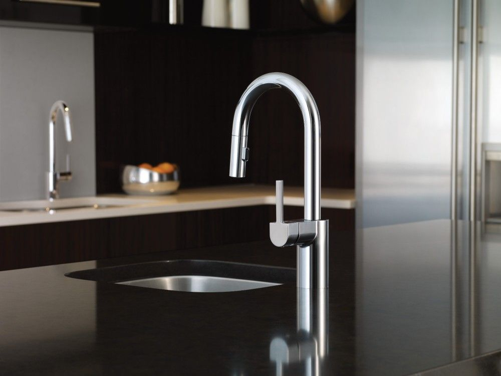 Align Chrome one-handle high arc pulldown kitchen faucet -- 7565 ...