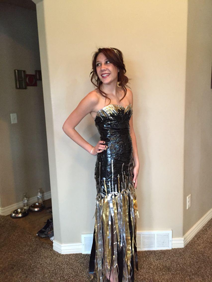 Stuck at prom scholarship duck tape dress I made:) | Dress making ...