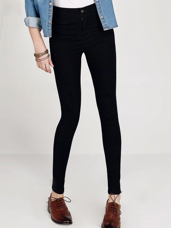 pantalon taille haute amincissant en denim noir outfits pinterest noir jeans. Black Bedroom Furniture Sets. Home Design Ideas