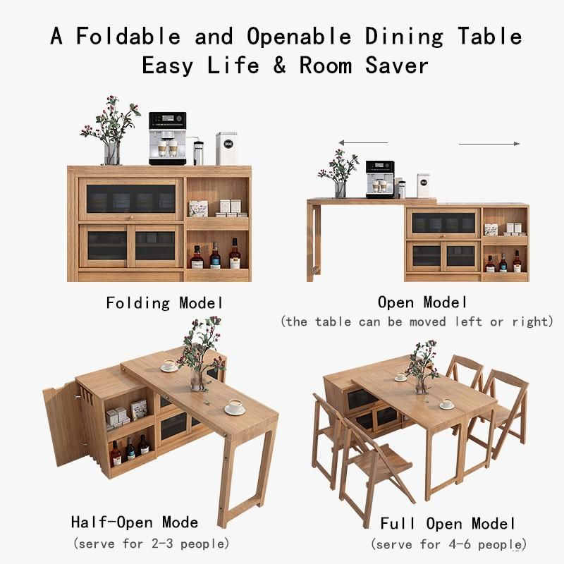 2020 New Design Folding and Expandable Multifunction Dining Table with Hidden Storage Design Cabinet