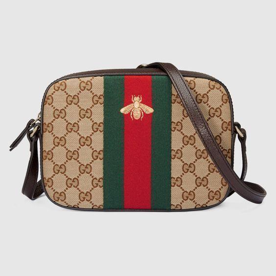 Womens Gucci GG Gold Bee Web Zip Crossbody Bag Style 412008 KQWYG 8869   Gucci  Crossbody 058aa460cde5f