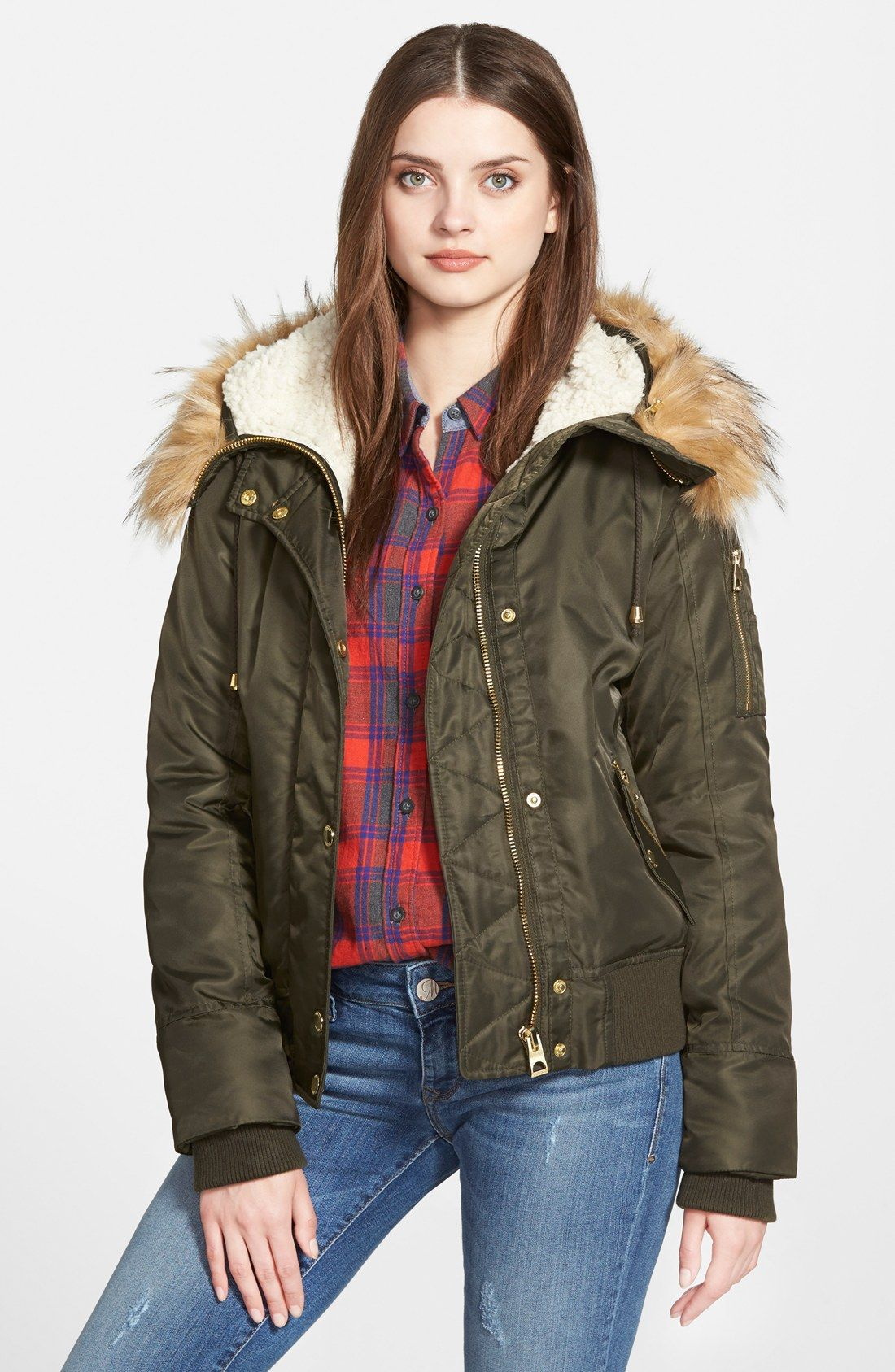 Guess Hooded Satin Bomber Jacket With Faux Fur Trim Faux Shearling Lining Nordstrom Bomber Jacket Satin Bomber Jacket Olive Bomber Jacket [ 1687 x 1100 Pixel ]