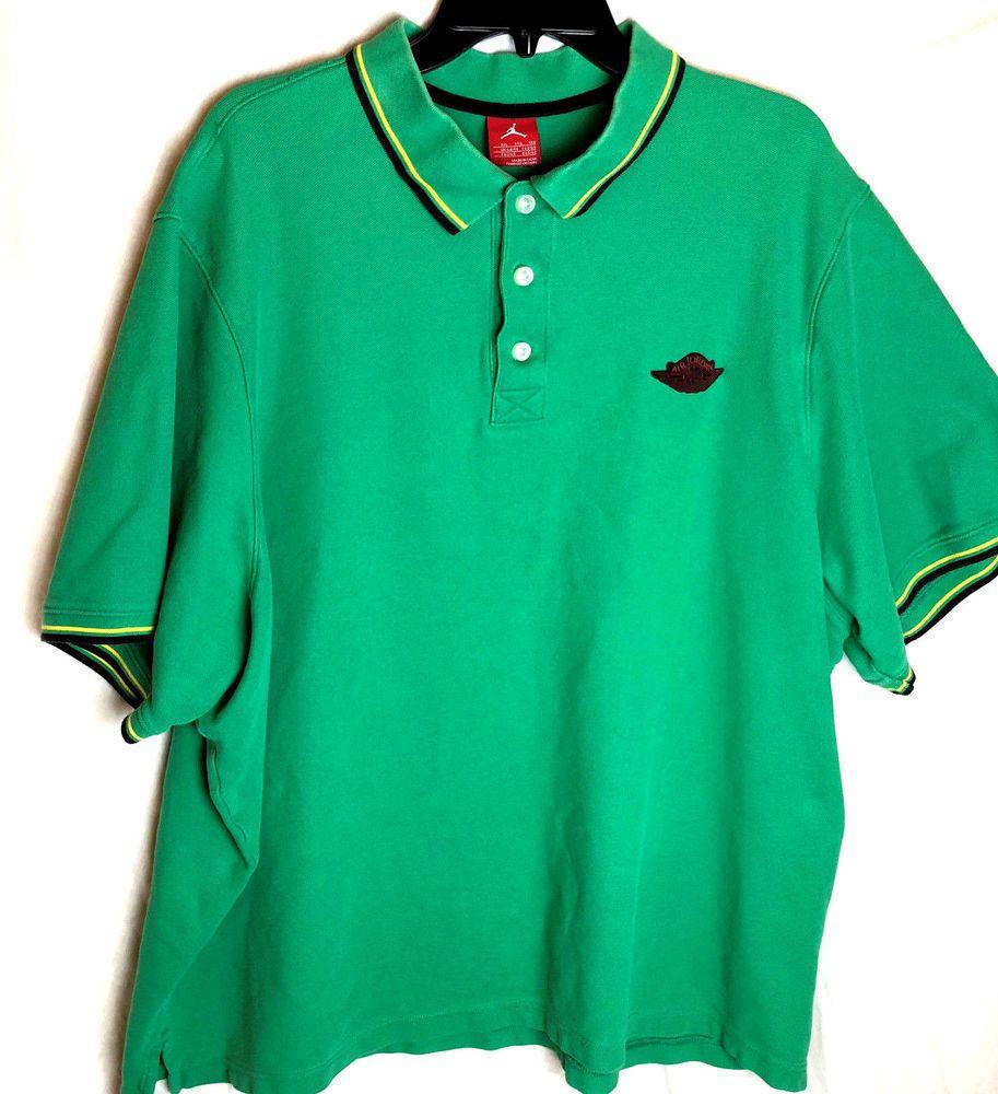 ca9a761d883 Vintage Nike Air Jordan Polo Shirt Size 3XL Green Short Sleeve Pique #Nike  #PoloRugby