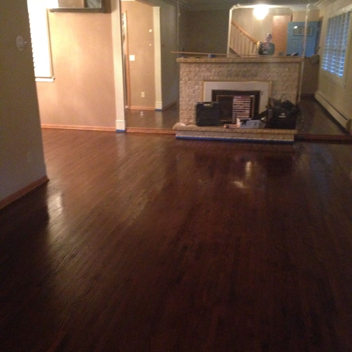 Minwax Dark Walnut on Red Oak Hardwood floor stain