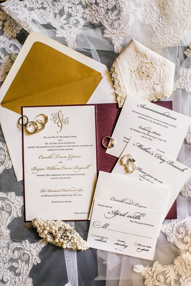 are labels on wedding invitations tacky%0A Wedding at The Umstead  White  gold and plum lette u