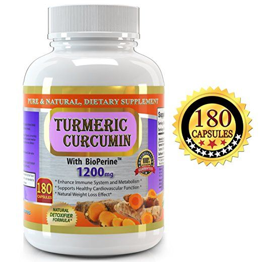 Pure Turmeric Curcumin with BioPerine, 180 Veggie Capsules - 2 Months Supply, 1200 mg - High Potency Turmeric Curcumin Supplement