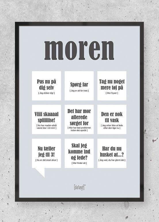 Moren Dialaegt Plakat Sjove Citater Humoristiske Citater Inspirationscitater