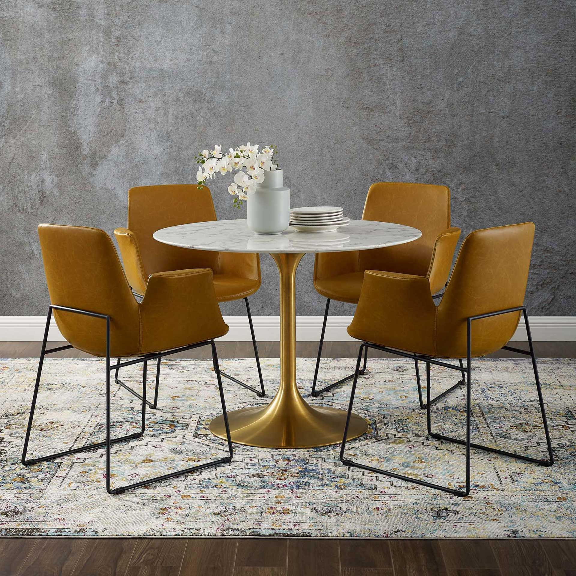 Lore Round Dining Table Gold White Marble In 2021 Dining Table Marble Dining Table Gold Marble Dining