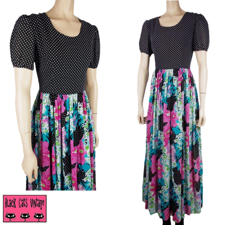 Vintage s long maxi dress black white polka dot floral floaty