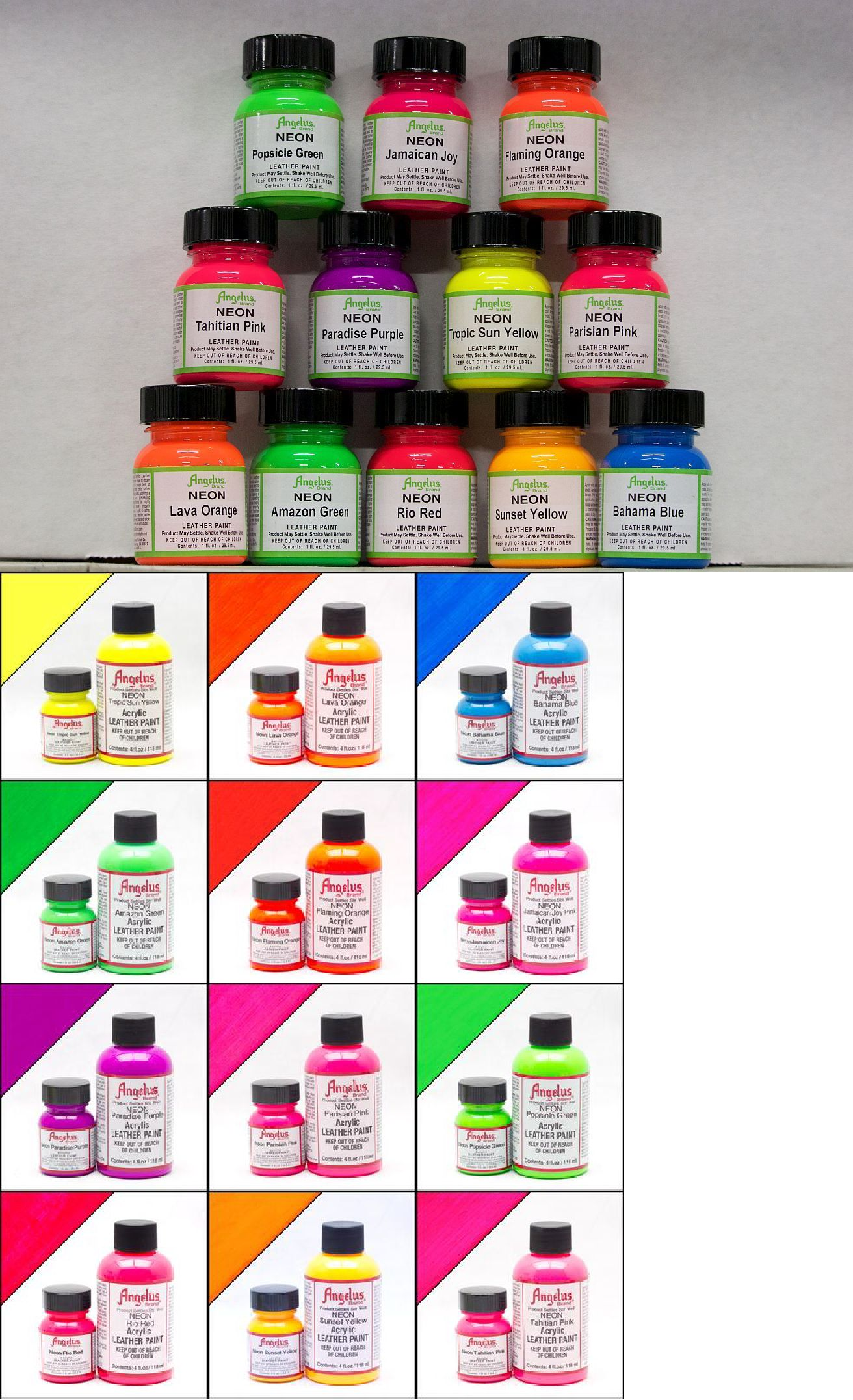 Angelus Neon Acrylic Leather Paint 12 Colors In 1oz Bottles Leather Paint Acrylic Neon