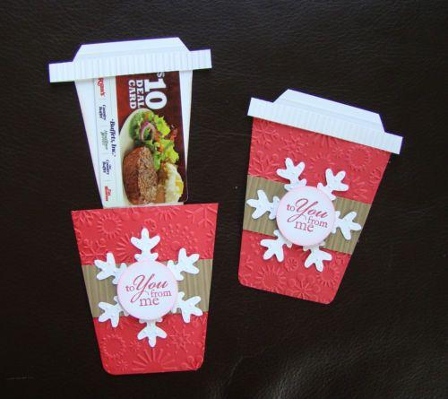 Stampin Up Handmade Christmas Coffee Card   Embossing   Add Starbucks  Giftcard