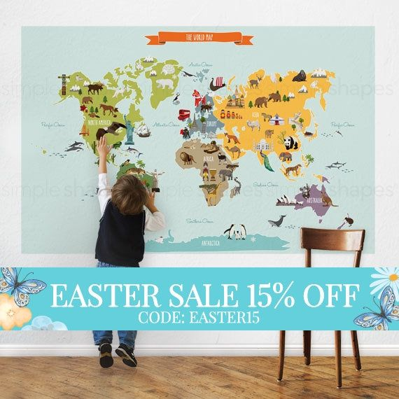 World map kids world map poster educational map for kids peel and easter sale world map kids world map poster educational map for kids gumiabroncs Gallery