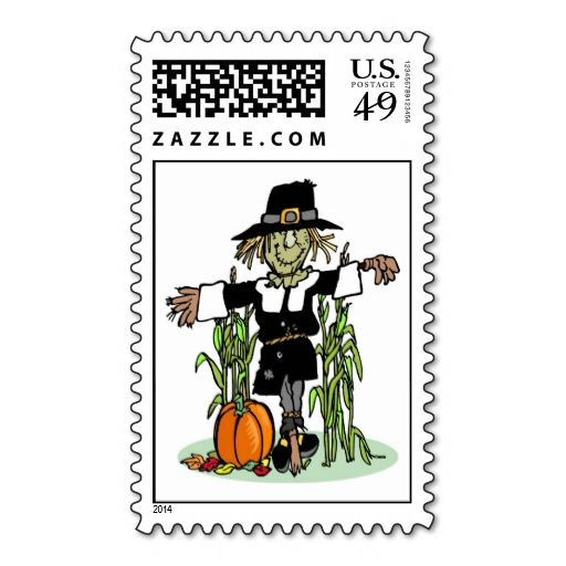 Pilgrim Scarecrow Postage Stamp. Wanna make each letter a special delivery? Try to customize this great stamp template and put a personal touch on the envelope. Just click the image to get started!