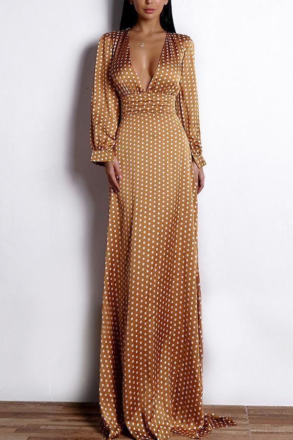 Polka Dots Long Sleeves Bohemian Dress - Yellow /