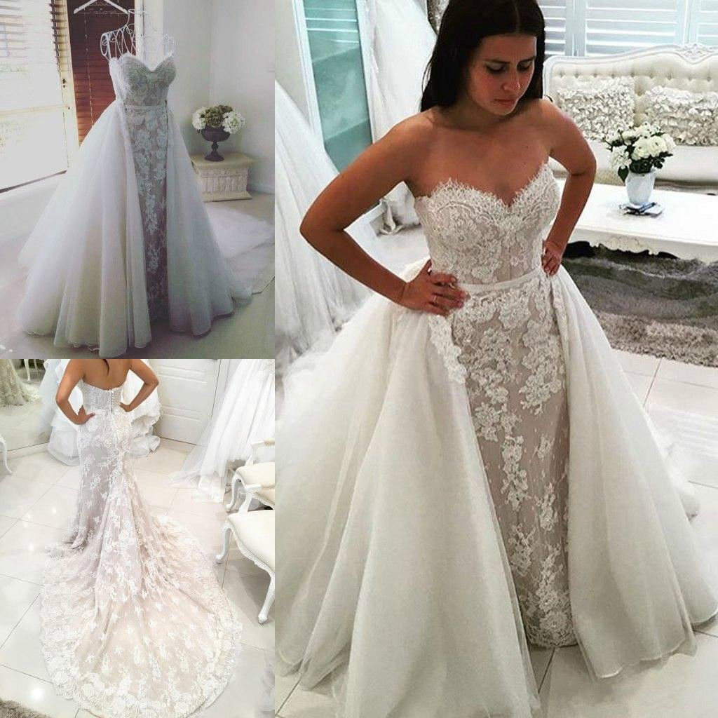 New Sweetheart Lace Mermaid Wedding Dress Detachable Overskirt Bridal Gown Bride
