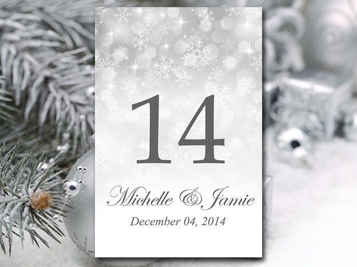 Printable Wedding Table Number Template - Winter Wonderland