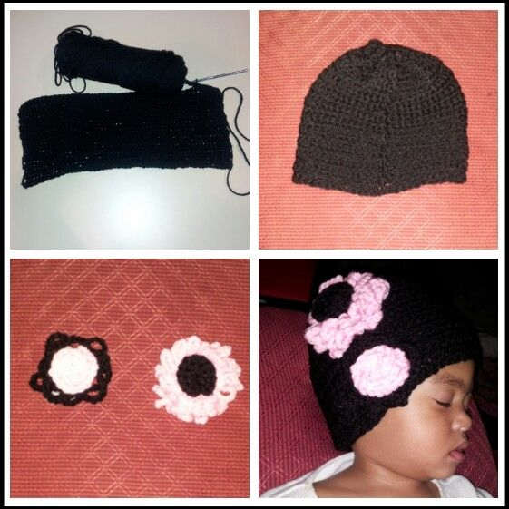 Crochet hat and flowers