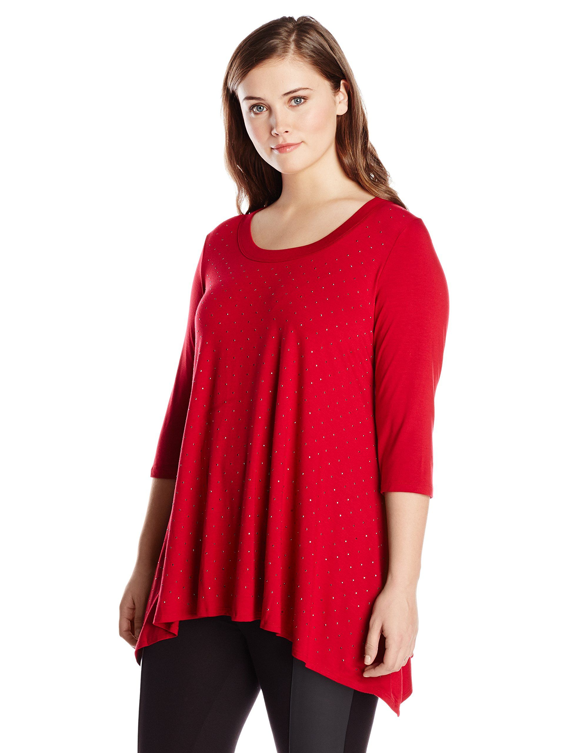 24f2a2463e7 Karen Kane Women s Plus Size Red 3 4 Sleeve Studded Top available at Amazon  Women s Clothing Store  Plus Size  Red  Studded  Tops  Plus  Size  Womens  ...