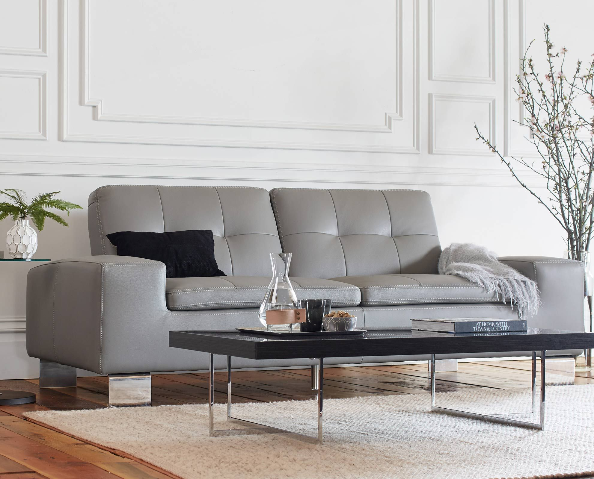 The Francesca leather sofa and Mondiana coffee table from