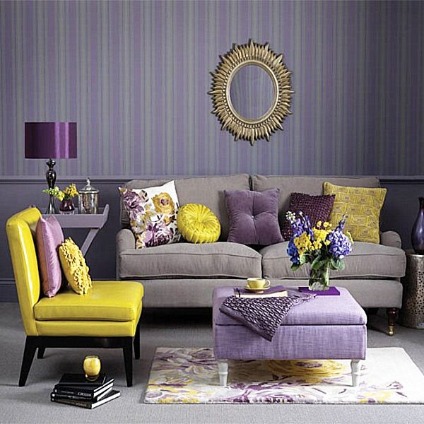 Living Room With Royal Purple And Yellow Accents Comfortable Furniture
