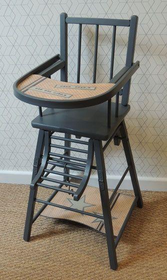 Meuble Renove Raymonde Chaise Haute Bebe Vintage Coloris Gris Et Beige Saumone Motifs Pois Et Etoiles Ins Chaise Haute Bebe Chaise Haute Chaise Bebe