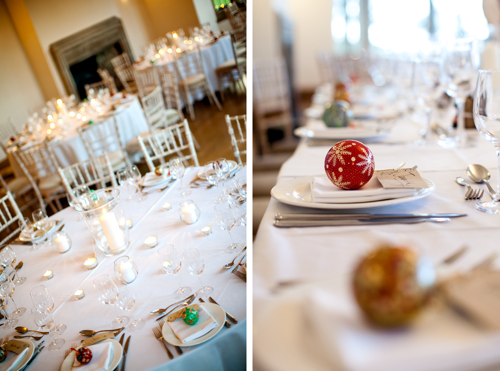 Simple December Wedding Decoration Of White Tea Lights With Baubles As Favours Somerset Photographer