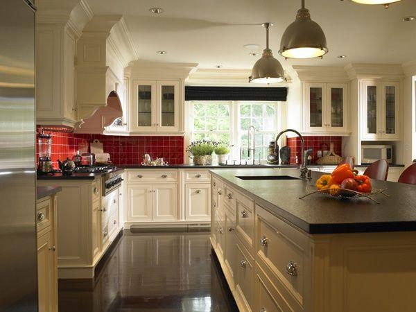 galley kitchen white cabinets soapstone red walls - Google ...