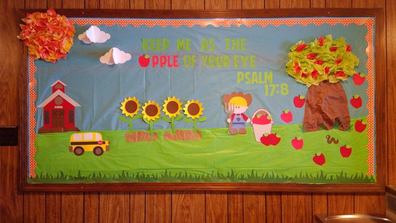 Church Bulletin Board Back To School Late Summer Apples Preschool Fun Boards Childrens Lessons