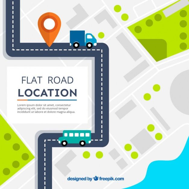 Flat road map with vehicles Free Vector Road Pinterest - blank road map