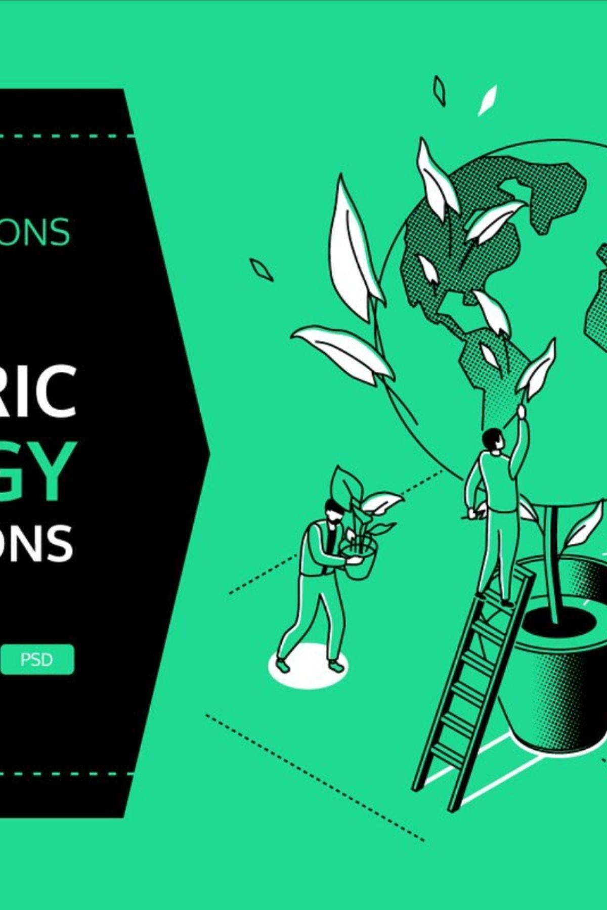 Ecology Line Isometric Illustrations in 2020 Isometric