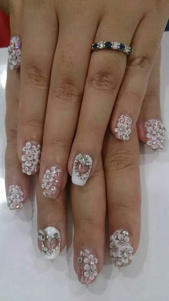 My Prewedding Photoshoot Manicure Bridalnails Nailart Floral