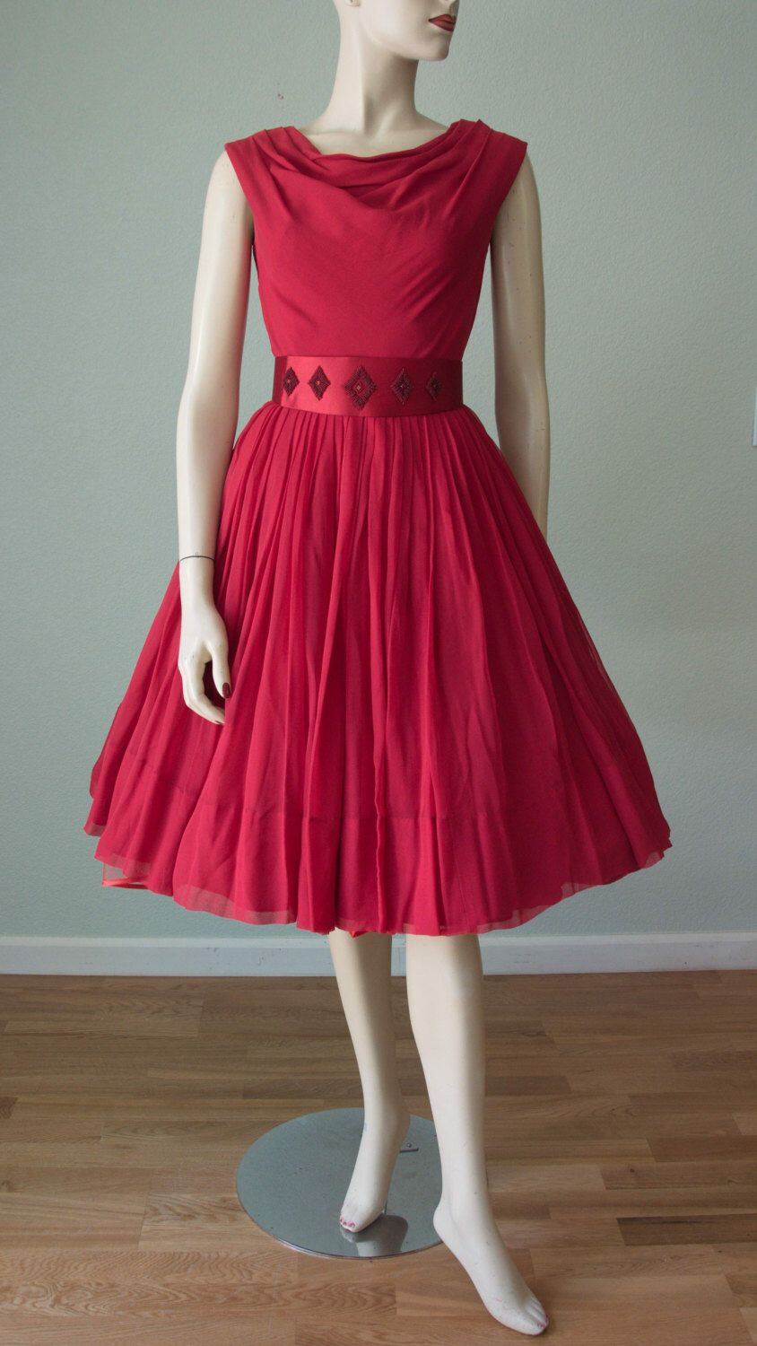 1950s-60s Dreamy Berry Red Silk Chiffon Dinner and Dancing Dress // Beaded Satin Belt // Draped Neckline  // Miss Elliette - Small by KittyGirlVintage on Etsy https://www.etsy.com/listing/462992781/1950s-60s-dreamy-berry-red-silk-chiffon