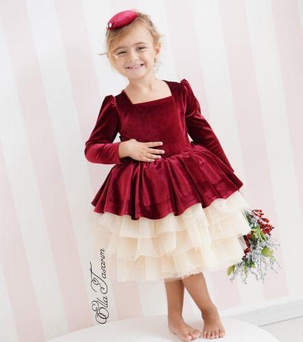 3493652584 Burgundy Velvet Girls Party Dress Holiday Dress Christmas Dress Tulle  Flower Girl