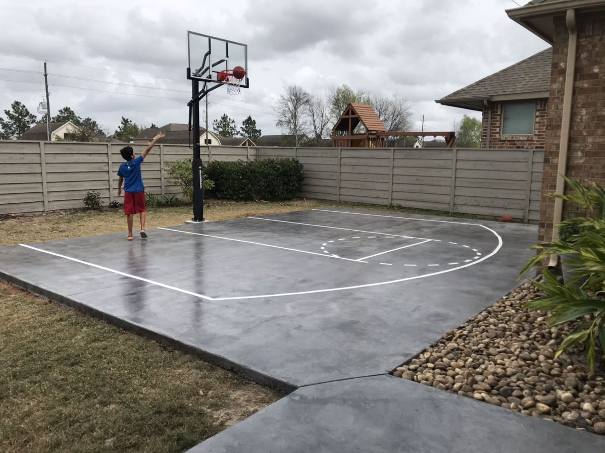 Concrete Slab Basketball Court Basketball Court Backyard Home Basketball Court Backyard Basketball