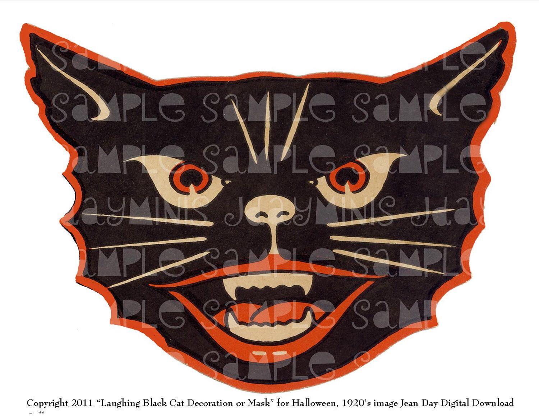 Halloween Mask Instant Digital Download, Laughing Black Cat ...