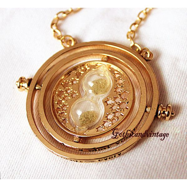 Harry Potter Time Turner Necklace Hermione Granger Rotating Spins Gold... ($18) ❤ liked on Polyvore featuring jewelry, necklaces, harry potter, accessories., gold chain necklace, chains jewelry, gold chain jewelry, yellow gold necklace and gold necklace