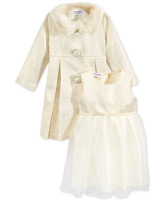 Blueberi Boulevard Little Girls' 2-Pc. Coat & Dress Set With Faux ...