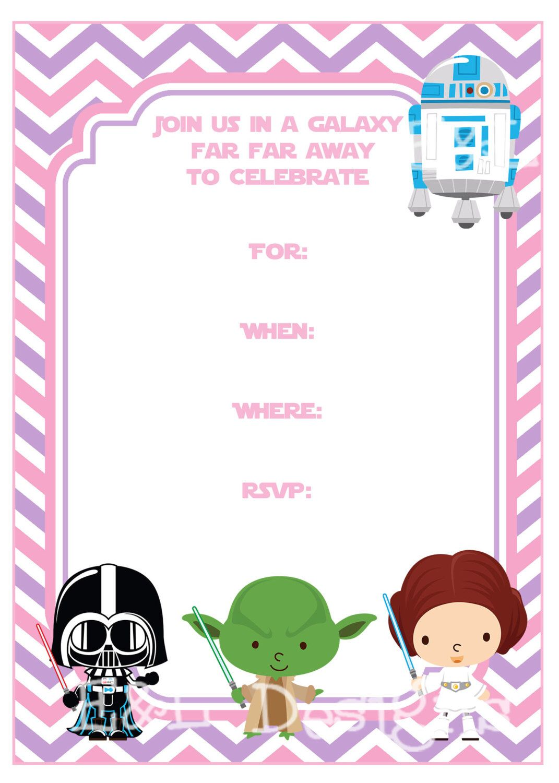 Star Wars Birthday 5x7 Invitation, Star Wars Birthday,Pink and Purple, Instant Download,Printable di EandLdesigns su Etsy https://www.etsy.com/it/listing/237445959/star-wars-birthday-5x7-invitation-star