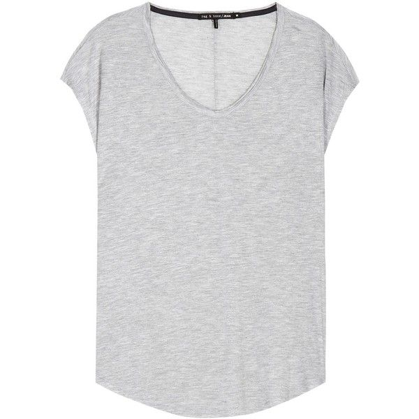 Rag & Bone Femme Jersey T-Shirt ($65) ❤ liked on Polyvore featuring tops, t-shirts, grey, jersey knit tops, gray top, jersey tee, grey top y gray t shirt